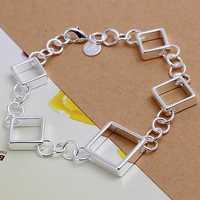 Lose Money!!Wholesale 925 Silver Bracelets & Bangles,925 Silver Fashion Jewelry Full square lattice Bracelet SMTH204