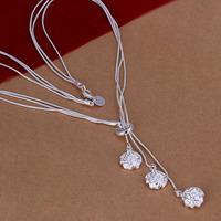 Lose Money!!Wholesale 925 Silver Necklace & Pendant,925 Silver Fashion Jewelry Three Rose Necklace SMTN049