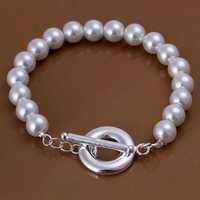 Lose Money!!Wholesale 925 Silver Bracelets & Bangles,925 Silver Fashion Jewelry TO pearl Bracelet SMTH230