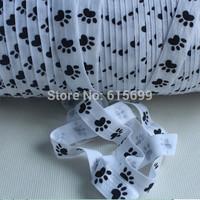 High quality Dog paw printing  Fold Over Elastic 100 yards/roll  5/8 inch FOE  printed ribbon  free shipping