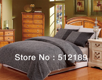 Black Soft 100% Cotton Bedding Four Piece Set Double Size Duvet Cover Fitted Sheet Pillow Shams Free Shipping