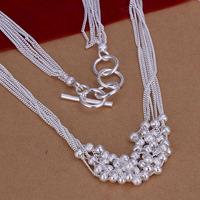 Lose Money!!Wholesale 925 Silver Necklace & Pendant,925 Silver Fashion Jewelry Six Line Sand Bead Necklace SMTN001