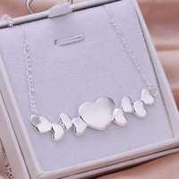 Lose Money!!Wholesale 925 Silver Necklace & Pendant,925 Silver Fashion Jewelry Multi Hearts Necklace SMTN275