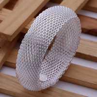 Lose Money!!Wholesale 925 Silver Bracelet & Bangle,925 Silver Fashion Jewelry Big Web Bangle SMTB028