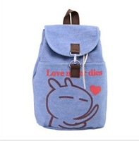 new design 2013 gentlewomen double-shoulder canvas cartoon small middle school students women's backpack 9 style