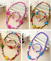 Chinden Jewelry Set Gril Mixed Color WOOD BEADS NECKLACE  36 SET