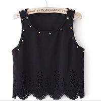 New 2014 Fashion Rivet Flower Cutout Wave Sweep Sleeveless Sexy Basic Tank Top Women Short Design Women Tops