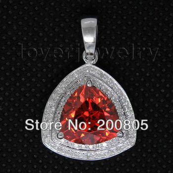 Valentine's day  Vintage Trillion 11x11mm 14Kt White Gold Diamond Red Garnet Pendant CA0055