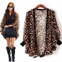 Oversized Plus Size Women Ladies Leopard Chiffon Batwing Sleeve Casual Collarless Cardigan Wrap Shrug Long Shirt Top Blouse