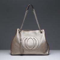 Free shipping real calfskin leather 2013 new metal chain tassels fashion women brand handbag lady shoulder shopping tote bag