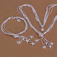 Lose Money!!925 Silver Jewelry Set,Fashion Sterling Silver Jewelry Taiji Starfish Necklace&Bracelet SMTS007