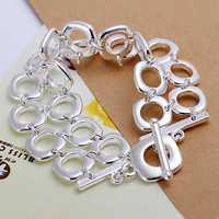 Lose Money!!Wholesale 925 Silver Bracelets & Bangles,925 Silver Fashion Jewelry Double full Quartet Bracelet SMTH094
