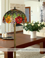 Free Shipping  16 Inch Tiffany Floor Lamp Living Room Lamp Bedroom Lamp Study Lamps European Pastoral Color Roses