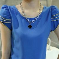 New 2014 Free shipping autumn summer fashion Chiffon blouse shirt Gold Lace large size women short sleeved Leisure render 4 size