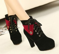Sep-2013 Winter style woman color matching short boots/high heels/ female/ladies lace-up ankle boots free shipping