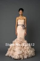 2014 Vera Couture Mermaid Style Organza Ruffles Elegant Fashion Modest Design Floor Length Prom Dress Evening Dresses Ball Gown