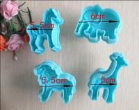 4pcs/set Free shipping Small animal pattern shape biscuit machine plunger paste sugar craft decoration 020074