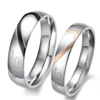 Mens Fashion Jewelry Classic 316L Stainless Steel Ring Couples' Finger Rings Heart To Heart Shape Never Fadeless For Lovers
