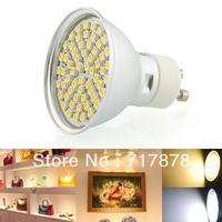 10pcs/lot New 5W 60 SMD LED GU10 Spot Light Bulb Warm White Aluminum cover energy saving