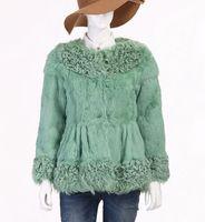 Free shipping 2013 Brand New Vogue Rabbit fur wholeskin Coat Natural Fur Garment women High Quality IN STOCK