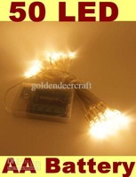 Free Shipping Outdoor Indoor Holiday 50 LED Warm White String Lights Battery Operated Christmas New Year  Decorations For Garden