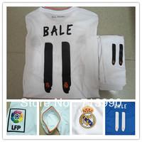 wholesale 2013 2014 Real madrid white  soccer uniform kits BALE#11 soccer jerseys shirt&short. best quality BALE soccer shirt