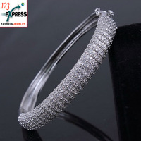Zircon bangle bracelet Platinum Pave setting High quality 2014 Lady crystal fashion accessories Dinner party Sale
