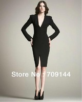 Free Shipping 2013 New Elegant Style V-Neck Long Sleeve Black Cotton Blend Pencil Dress For Women/Casual Dress/S M L