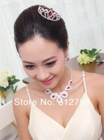 Red Gem Queen Tiara Hairpin Headdress Teardrop Stud Earring Colorful Petals Necklace  Rhinestone Jewelry Set