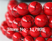 Min order 12USD Wholesale NEW 6-10mm 38pcs/strand Red Crack Turquoise Round  fashionable Beads for jewelry making free shipping