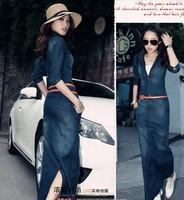 Free shipping 2014 spring and summer women's ice silk denim dress is Slim thin waist denim dress