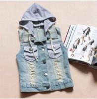 autumn new 2014 plus size denim vest coats and jackets for women denim vest with hood girl jean vest cardigan tops fashion