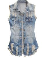 Fashion autumn vests 2014 female coat handsome band denim vest waistcoat vest tops women short sleeveless denim jacket