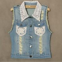 autumn -summer lace jeans plus size denim vest the waistcoat autumn casual dress new 2014 blue jean vest women clothing