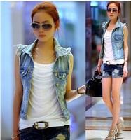 new 2014 sleeveless jean jacket women's vest autumn -summer casual dress waistcoat women coat coats for woman