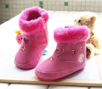 Free shipping  New winter comfortable warm girls baby snow boots 12cm 13cm children red zipper toddler footwear plush shoes B407