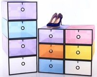 2X HK  2013 New Fashion Magical Colorful Plastic Stackable Foldable Shoe Storage Box Organiser Case Boxes for Xmas
