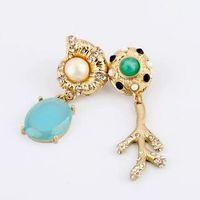 2014 Sale Brinco Brincos Dangle Earring Fashion Pearl Snail Branches Drop Earrings Women Gem Statement Jewelry free Shipping