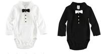 LS039 Retail Free ship baby romper gentleman/ boy bodysuit full sleeve shirt bow tie jumpsuits/white, black/ Little Sun