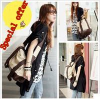 Korean version of the popular canvas bag with three portable shoulder bag Messenger bag shoulder bag girls with free shipping