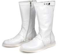 Fashion trend of the boots male boots fashion high-leg men's boots genuine leather white tall boots