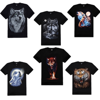 2014 New Fashion mens 3D Black Short Sleeve O Neck T shirt Animal Series Wolf Print 100% Cotton T-shirts M-XXXL Plus size