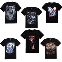 2014 New Fashion mens 3D Black Short Sleeve O Neck T shirt Animal Series Wolf Print 100% Cotton T-shirts M-XXXL Plus size