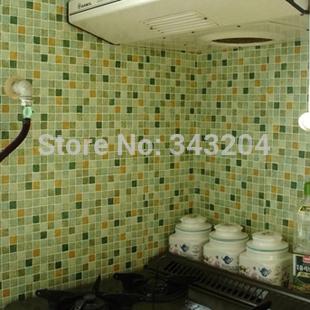 PVC parede mosaico adesivo , auto-adesivo papel de parede para cozinha e banheiro, telha cerâmica mosaico adesivos , mosaico de vidro imitação(China (Mainland))