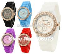 Golden Rhinestones CZ Bling Geneva Quartz Silicone Girl Lady Women Wrist Watches watch