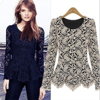 Hot-selling new arrival women's fashion quality lace basic shirt slim waist plus size shirt plus size clothing brief