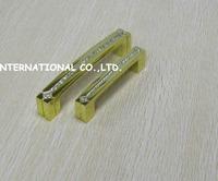 96mm golden color Free shipping K9 crystal glass kitchen drawer dresser door cabinet handles