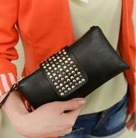 Korean Style Simple 2014 Fashion PU Leather Woman Handbag Designer Rivet Lady Clutch Purse Wallet Evening Bag Free Ship NB1001