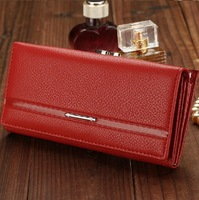 Classic women's wallet genuine leather long wallet cowhide women's design female