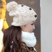 2013 Hot New Women Hat Winter Warm Beanies Fashion Girls Button Twisted Knitted Cap Apparel & Accessories Knitting Warm Hat